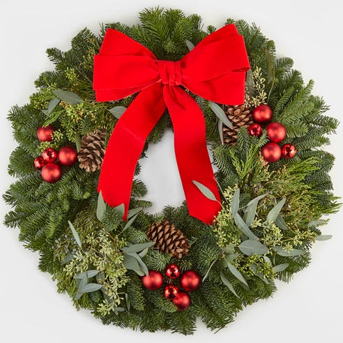 Merry and Bright Fresh Christmas Wreath