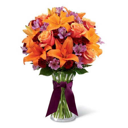 Orange roses, asiatic lilies and purple alstroemeria