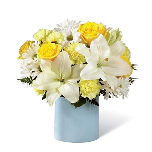 new baby flowers delivery and white lily bouquet, lily and yellow rose delivery