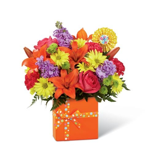 Happy birthday flower delivery in an orange flower bouquet with orange lilies and cheap flowers
