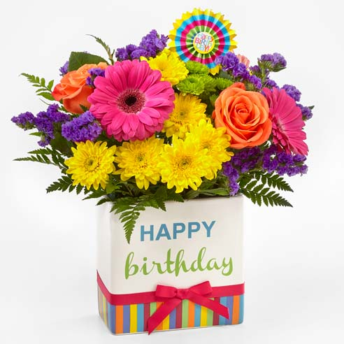 Hot pink gerbera daisy and orange rose happy birthday package bouquet