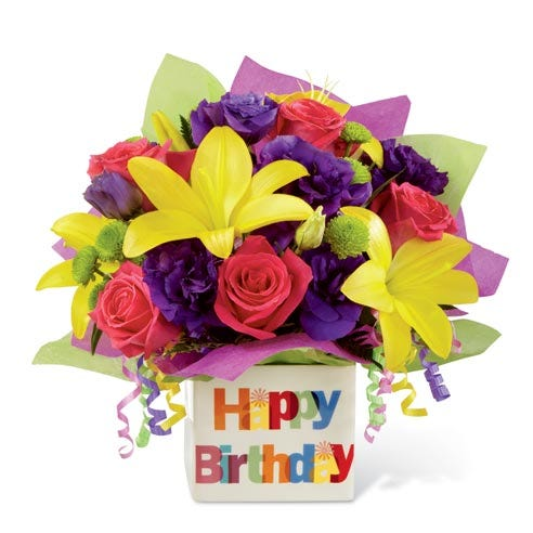 FTD Happy birthday yellow lily and hot pink rose bouquet with purple lisianthus