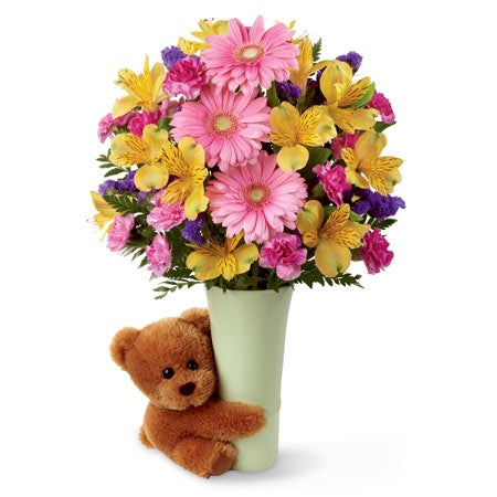 Flower and bear bouquet with stuffed teddy bear and pink gerbera daisy bouquet