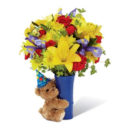 Same day flower and teddy bear delivery with yellow lilies and plush stuffed bear