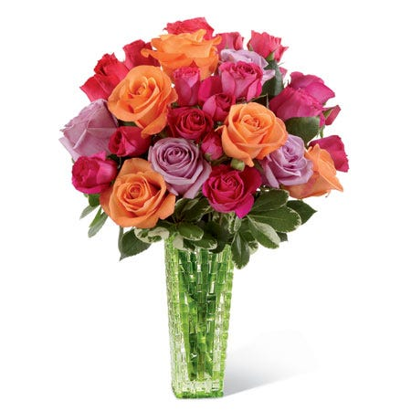 Mixed rose bouquet with orange roses, lavender roses and pink roses