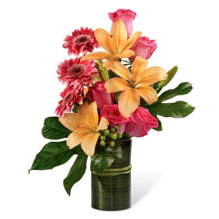 Pink gerbera daisies and peach asiatic lilies for cheap flowers delivery