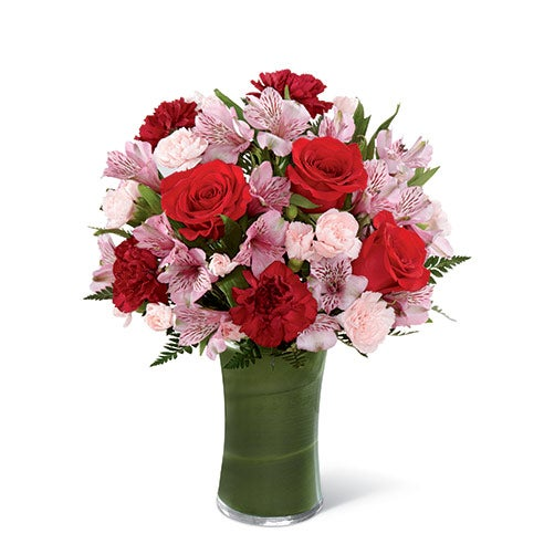 Red rose bouquet with burgundy carnations, pink peruvian lilies and cheap flowers
