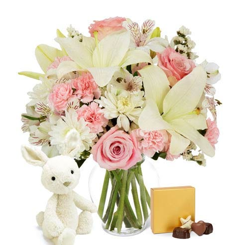 Spring white lily and pink rose bouquet with plush bunny and chocolate