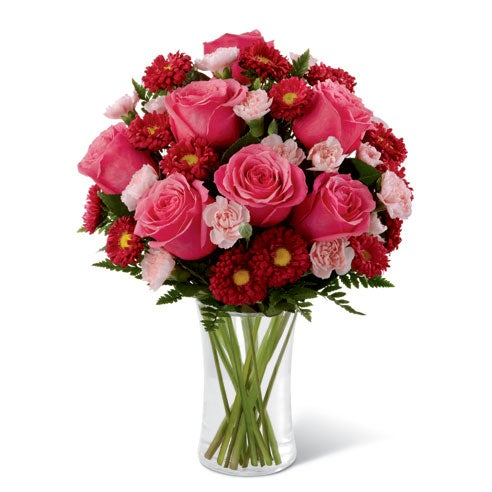 Red roses, red asters and pink mini carnations for mother's day flower delivery