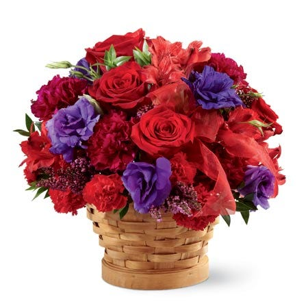 Red roses and red lilies, cheap mothers day flowers free delivery