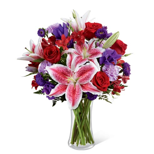 Stargazer lily delivery with red roses, pink lilies and blue iris for cheap flower delivery for mom