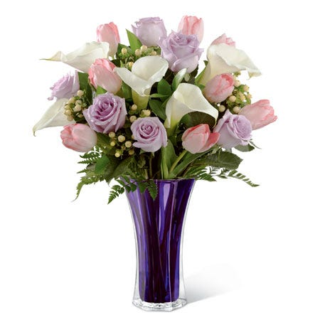 White Open Cute Calla Lilies Pale Pink Tulips Lavender Roses And Peach