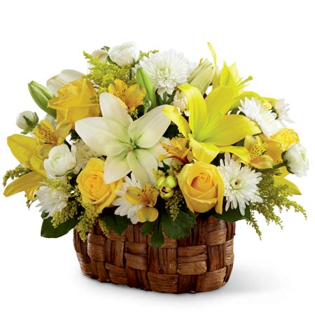 Flowers basket bouquet with yellow lilies, yellow roses and white LA hybrid lilies