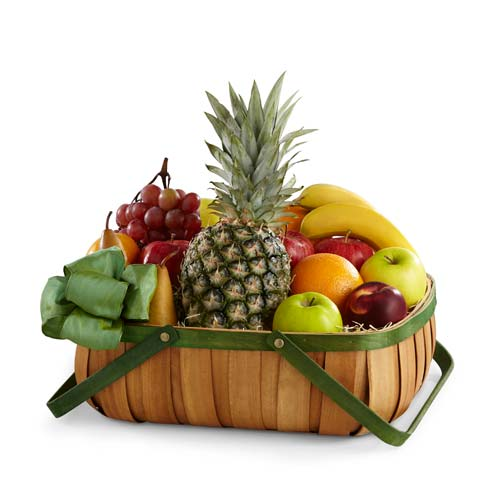 Mixed fruits gift basket with grapes, pineapple, apples, bananas, oranges and bow
