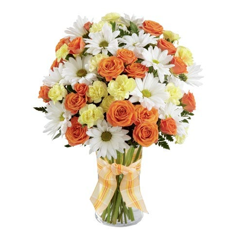 Orange roses and white daisies with cheap flowers for same day flower delivery from sendflowers com