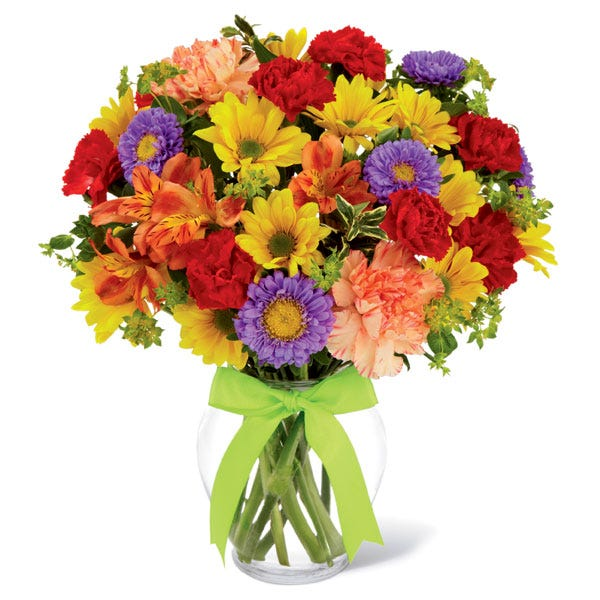 Mixed bouquet with spring flowers, cheap flowers and peruvian lilies for cheap flower delivery