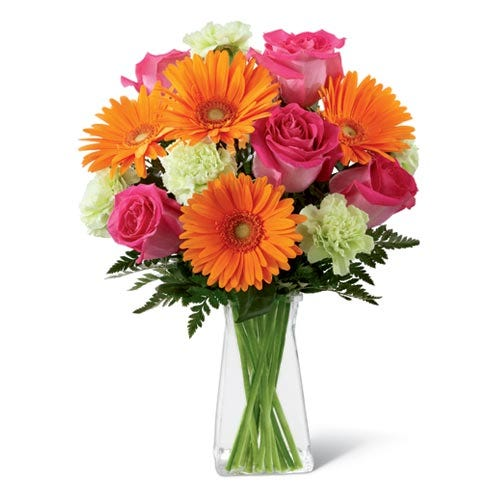 Orange gerbera daisy arrangement with hot pink roses by send flowers
