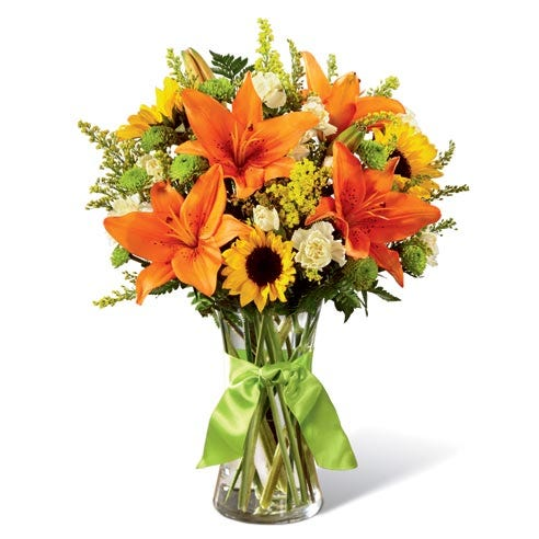 Lily flower bouquet with orange lily, sunflowers and cheap flowers for cheap flower delivery