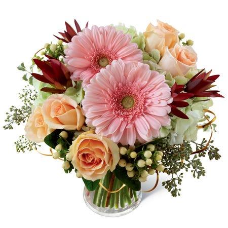 Pink gerbera daisies, peach roses, green hydrangea, peach hypericum berries, & lush greens in a clear glass vase