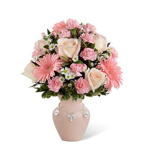 New Mom flower arrangement with pink roses, carnations and gerbera daisies