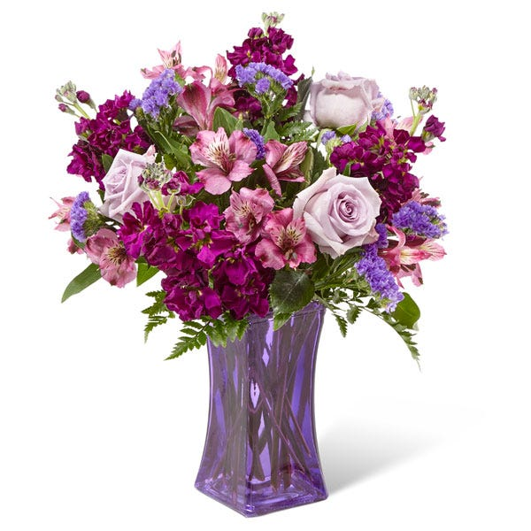 Purple flower bouquet delivery with lavender roses and cheap flowers