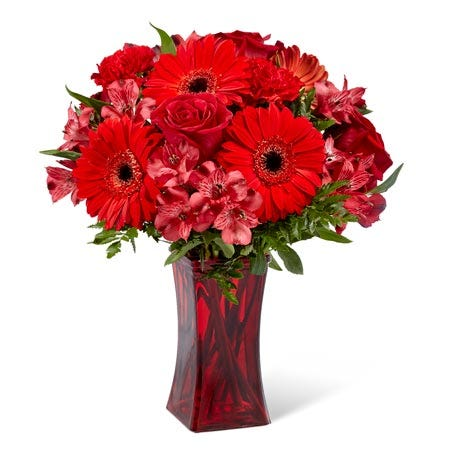 Red gerbera flower bouquet and all red flowers bouquet with cheap flowers