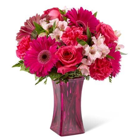 Hot pink gerbera daisy flower bouquet for same day flower delivery
