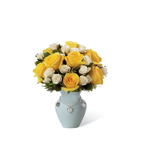 New baby boy arrangement with yellow roses and white spray roses