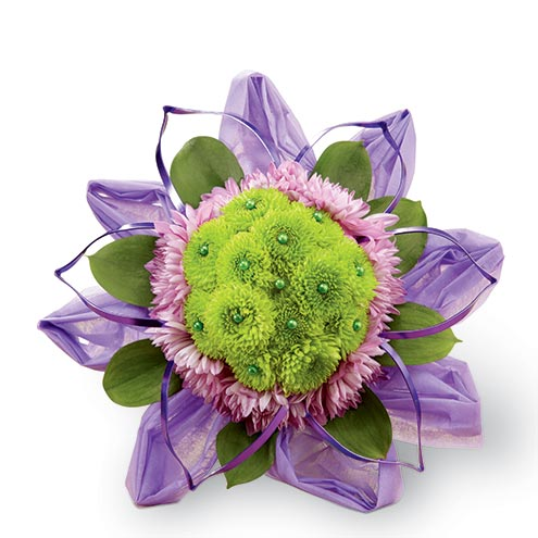 Bouquet of lavender chrysanthemums and green button poms arrangement