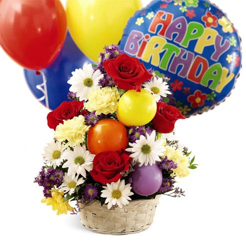 Happy birthday flower and balloon bouquet with gift basket and balloons