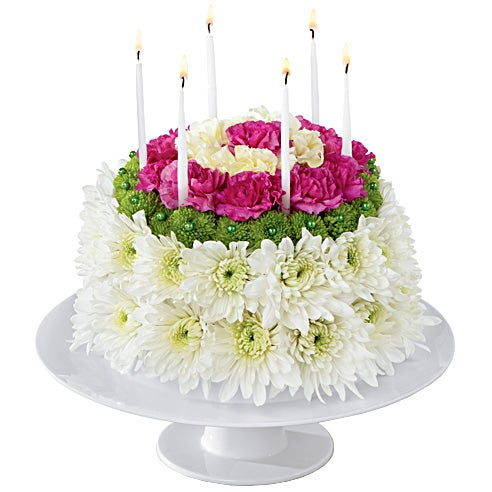 Flower Birthday Cake With Pink Roses For Same Day Delivery