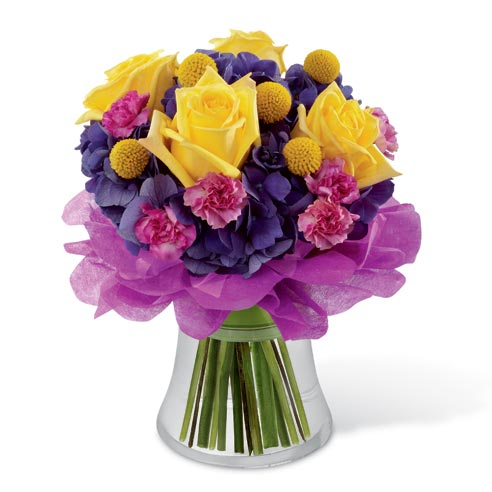 Yellow roses, pink carnations and purple hydrangea florist delivered