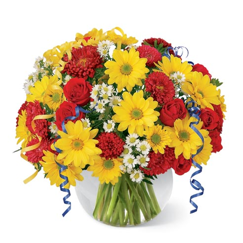 Red roses, matsumoto asters, yellow daisies in a circular glass vase