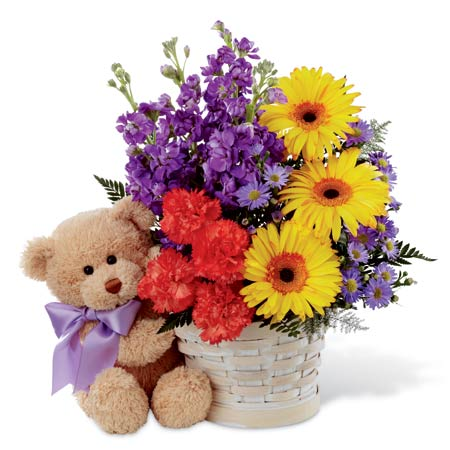 Yellow gerberas bouquet and flowers basket bouquet with stuffed animal bear