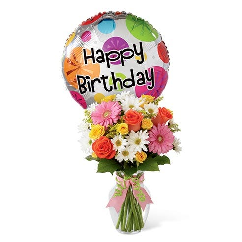 Happy Birthday Flower And Balloon Bouquet With Mylar