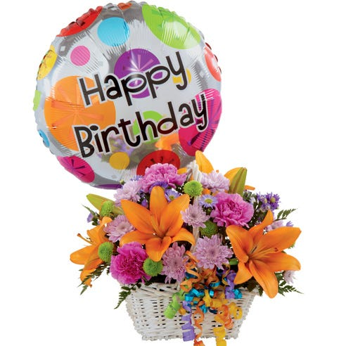 happy birthday orange lily lavender chrysanthemums bouquet with birthday balloon
