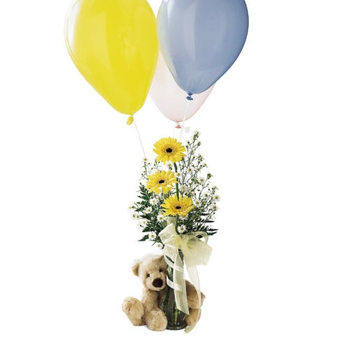 Colorful balloons & flower arrangement with teddy bear delivery