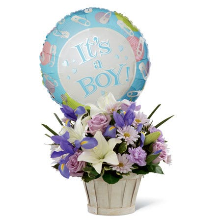 newborn baby boy balloon and new baby boy flower delivery, iris baby boy bouquet