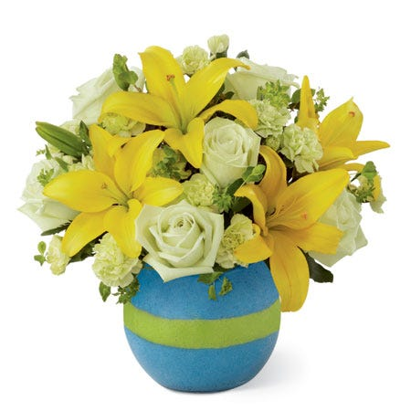 New baby flowers bouquet with yellow lilies, green roses and green carnations