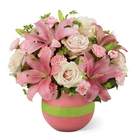 Bouquet of pale pink roses, pink Asiatic lilies, pink mini carnations and bupleurum