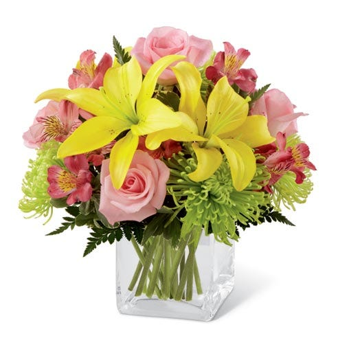 Yellow lily bouquet with pink roses for cheap flowers delivery on discount flowers flower bouquets.