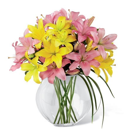 Pink lily bouquet, yellow lily bouquet, lily grass and discount flowers for cheap flower delivery
