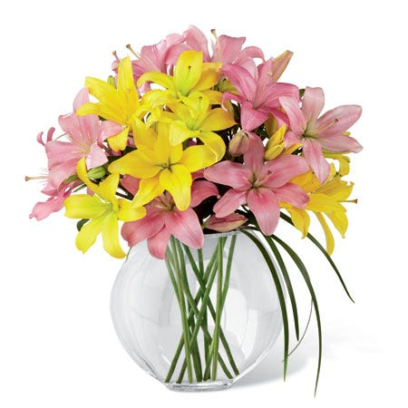 Pink lily bouquet, yellow lily bouquet, lily grass