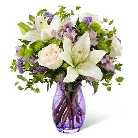 Lavender white lily arrangement delivery with white roses delivery cheap