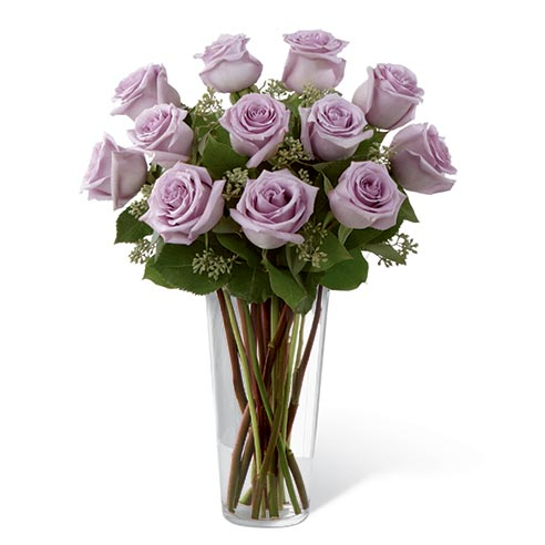 Lavender roses bouquet, long stem purple roses delivered today in a glass vase