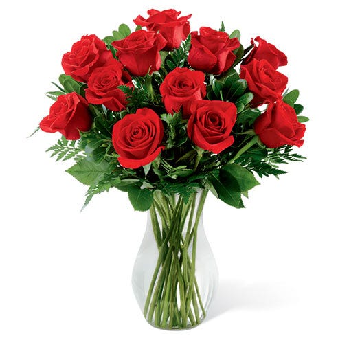 12 long stem roses for cheap rose delivery same day at send flowers usa