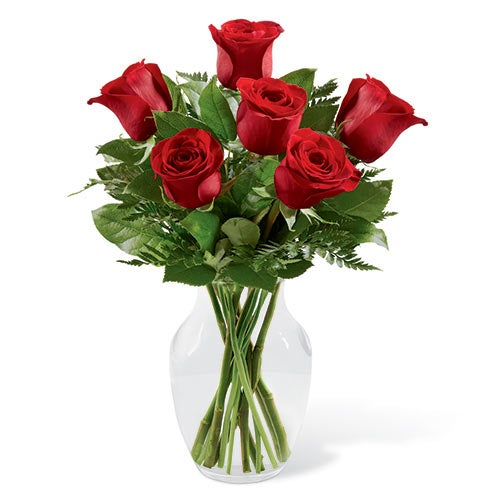 Red roses delivery on sunday with red spray roses and lush greens