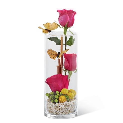Three hot pink roses staggered at different heights within a clear glass vase, with natural stone at the bottom. Includes green hypericum berries, yellow craspedia and butterfly picks for a fun look.
