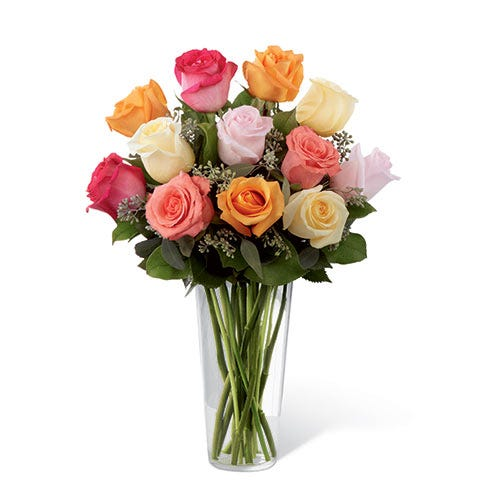 One dozen long stem roses with cheap flowers, orange roses, and peach roses for flower delivery