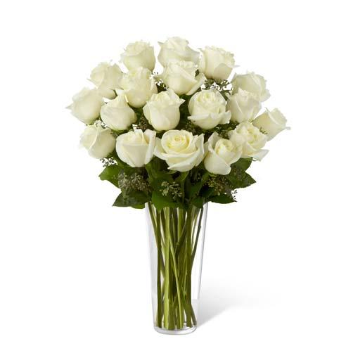 White long stem rose bouquet